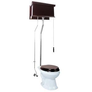 Renovator's Supply Dark Oak High Tank Pull Chain Toilet